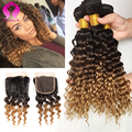 Grade 8A Ombre Peruvian Virgin Hair Deep Wave With Closure 4 Bundles Peruvian Hair Ombre Loose Deep Wave With Closure