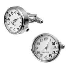 A pair of high quality silver clock go watch Cufflinks Wedding