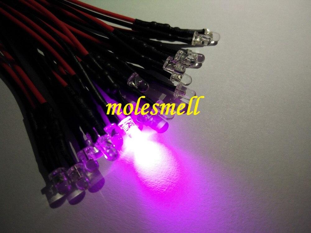 100pcs 3mm 5v Pink 5VDC LED Lamp Light Set 20cm Pre-Wired 3mm 5V DC