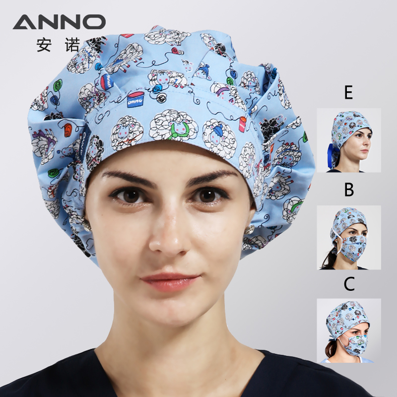 ANNO Bouffant Scrub Hats Cotton Surgical Caps For Female Male Doctor Nurse Cap Clinic Working Hat Hospital Head Wear