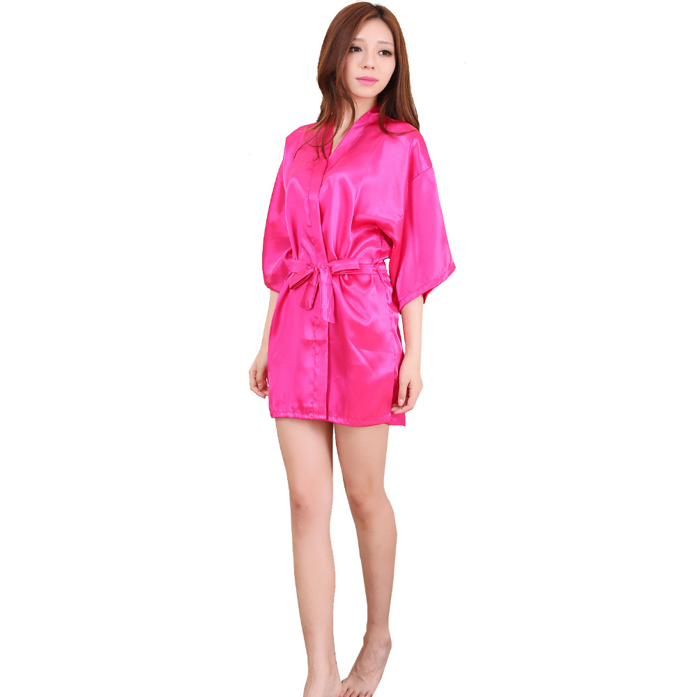 Hot Pink Sexy Women Silk Rayon Sleepwear Yukata Kimono Bath Dress Gown Nightgowns femmes Robes Plus Size S-XXXL
