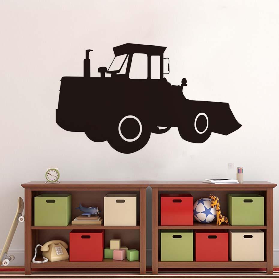 Bulldozer Excavator Tractor Wall Sticker Pvc Waterproof Art Vinyl