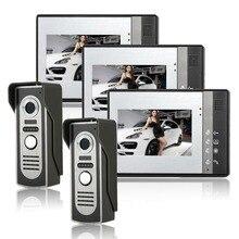 Teléfono de puerta de intercomunicación de vídeo IR Noche Cámara y Monitor Manos Libres de Intercomunicación Timbre Timbre de la Puerta función de bloqueo Abierto