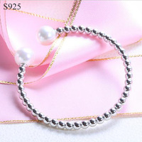 Shell Pearls Real Pure Solid 925 Sterling Silver Bangles For Women Jewelry Female Beed Cuff Bangle