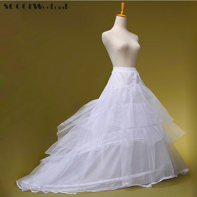 Cheap Wedding Dress Crinoline Bridal Petticoat Underskirt 2 Hoops with Chapel Train Two Steel and Three Layers Tulle