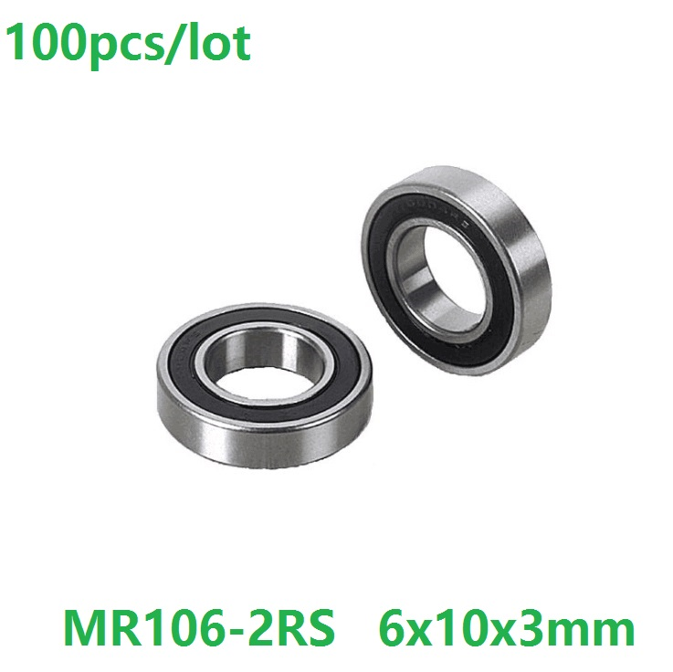 100pcs lot MR106 2RS MR106RS MR106 RS 2RS 6x10x3mm Thin tube Miniature Deep Groove Ball Bearing