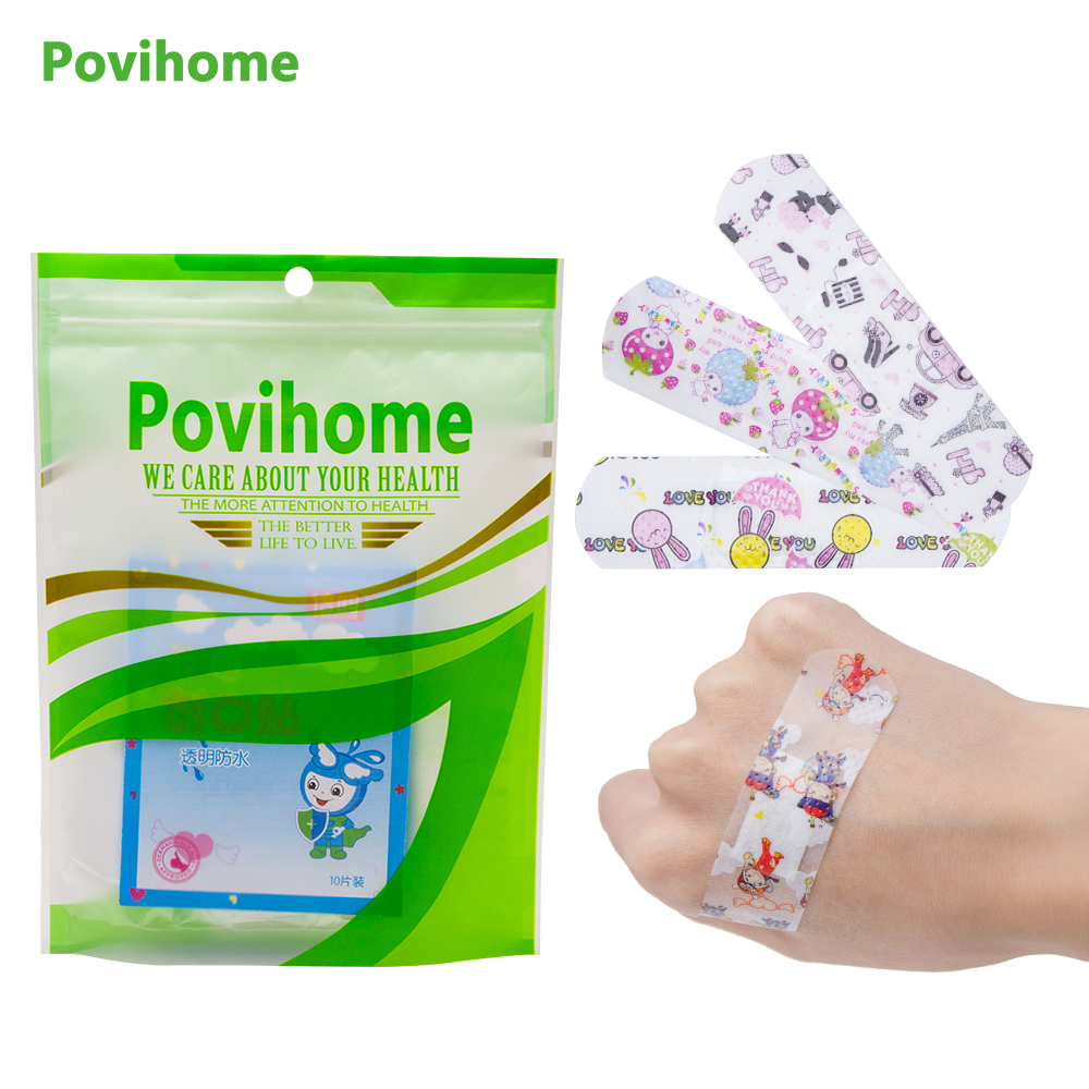 Povihome 50pcs/bag Cartoon Bandages Hemostasis Band Aid Sterile Stickers Adhesive Bandages First Aid Kids Children Plasters