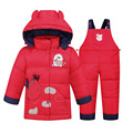 2016 New Baby Snow Wear For Boy Girl Winter Down Jacket Pant 2PCS Set Baby Boy Cow Winter Coat Clothing Set