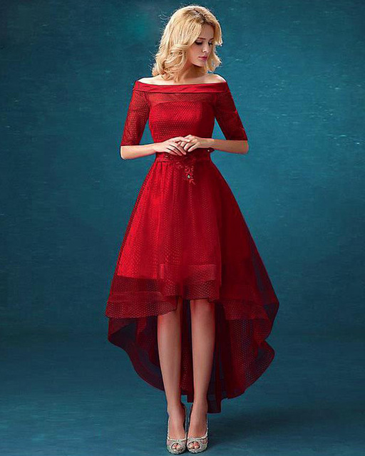Red to Burgundy High Low Dress with Tulle
