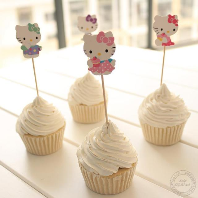24 Pcs Lovely Cut Cat Hello Kitty Cup Cake Topper Pick Sweet Cat