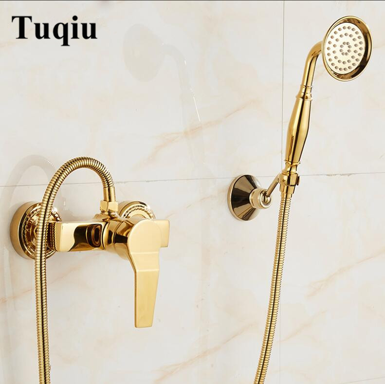 Gold Bathroom Shower Faucet Set Diverter Spray Banheiro Chuveiro Torneira Hot Cold Mixer Tap Plumbing Sanitary