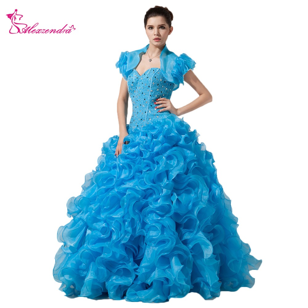 Alexzendra Beaded Bodice Blue Organza Ball Gown Quinceanera Dresses with Jacket Sweetheart Girl's Quinceanera Dresses