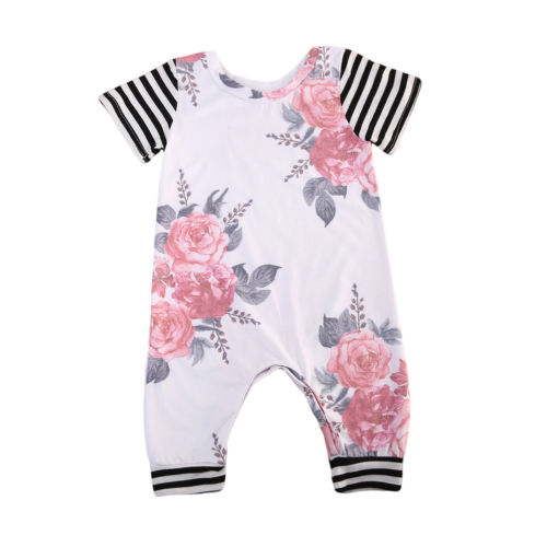 Newborn Toddler Infant Girls Floral Cotton Summer Clothes Striped Short Sleeve Romper Jumpsuit Clothes Outfit 3-18M