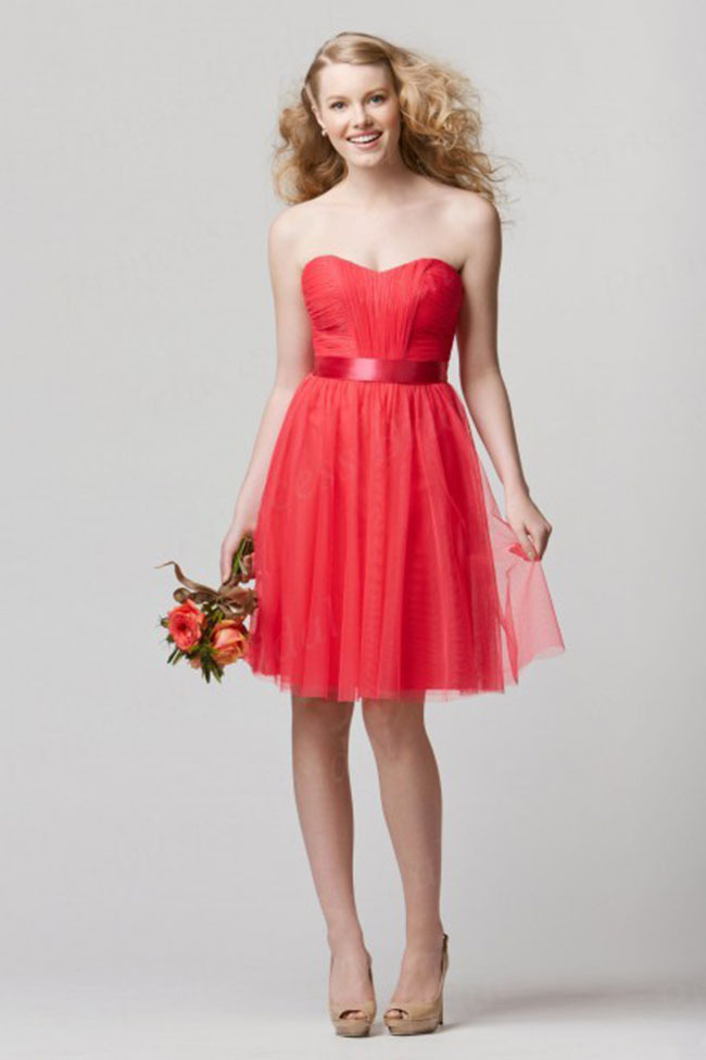 Free Shipping Designer Sheath Sweetheart Knee Length Tulle Bohemian Bridesmaid Dresses With Sash BD009