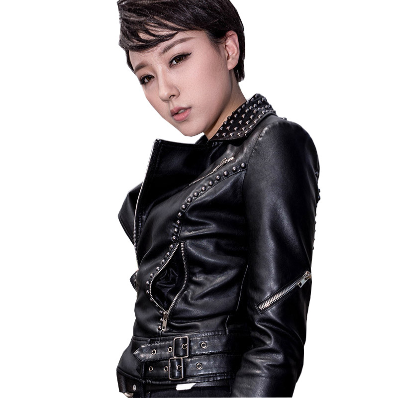 7a70a666a US $59.0  New Autumn Plus Size Black Pink Punk Jacket Women Beading  Motorcycle Jackets Rivet Studded Spiked Faux Leather Jackets LF1660-in  Leather & ...