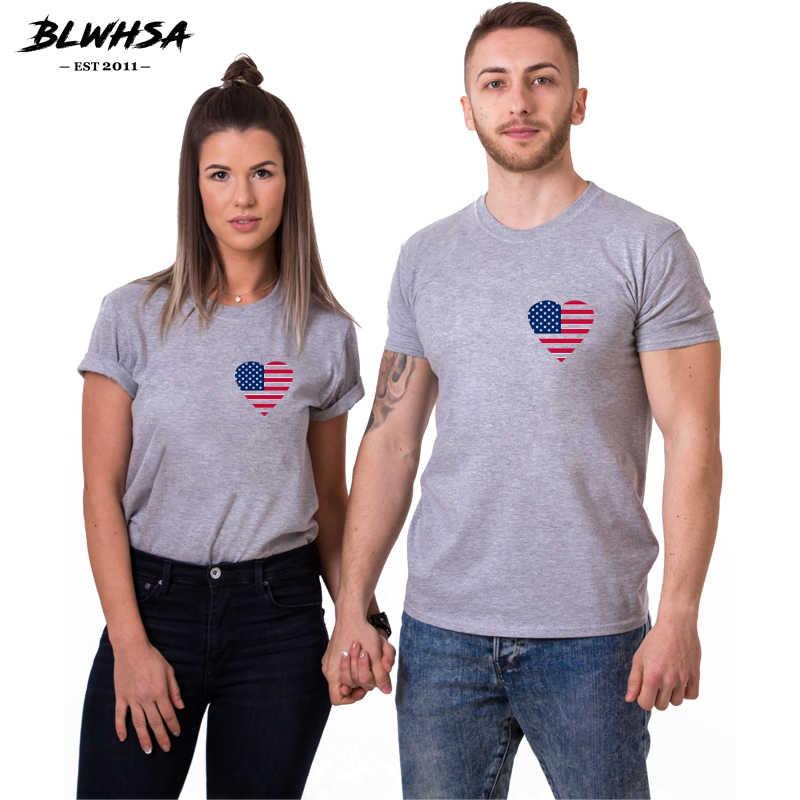 BLWHSA Zomer Paar T-shirts Voor Vrouwen Amerikaanse Vlag Liefde Afdrukken Tee Cool Korte Mouw Mannen USA Vlag Paar T-shirt Voor Loves