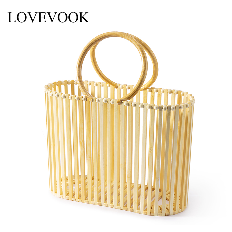 Lovevook Women Bamboo Bag Bucket Handbag Wooden Beach Bag For Ladies High Quality Bamboo And Rattan Straw Bag For Summer 2019