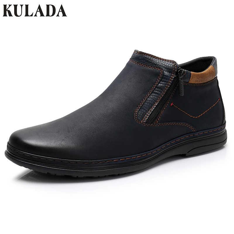 KULADA Новая Мужская обувь из замши высокие Quantiy ботильоны Для мужчин двойной боковой молнией повседневные ботинки Для мужчин прогулочная удобная обувь
