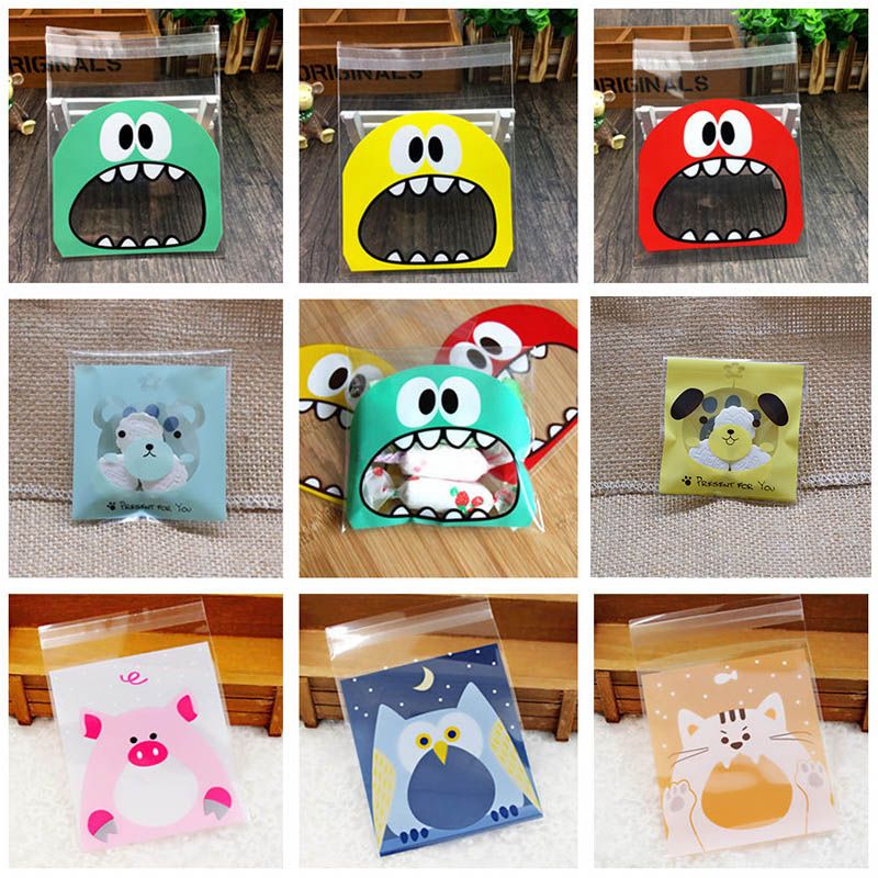 7x7 10x10cm 50Pcs Plastic Bags Cute Cartoon Gifts Bags For Birthday Party Cookies Packaging Supplies Adhesive Biscuits Candy Bag