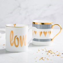 12 Styles Nordic Style Brief Description Gold Ceramic Mug Office Water Cup Home Breakfast Coffee Mugs Milk Couple