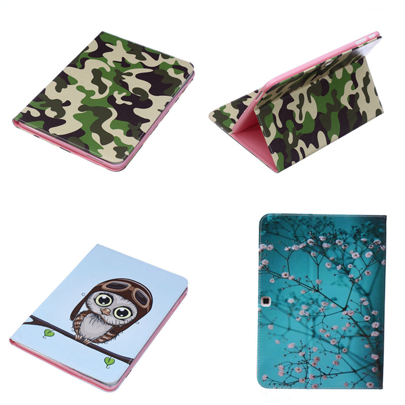 Fashion Bear pattern PU leather stand holder Cover Case for Samsung Galaxy Tab 4 10.1 SM T530 T531 T535 Tablet Camouflage-BF