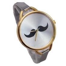 Nouvelle dame élégante mince grille argent steel band or cas précis mouvement à quartz mode femmes casual mustach montre