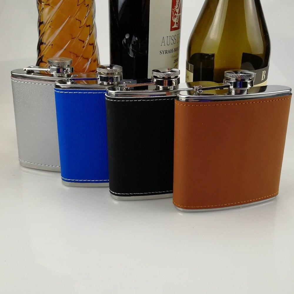 6 oz Laserable Leatherette Flask Brown black Blue Sliver