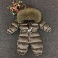0 4 Years Thick Kids Snowsuit Toddler Boys Girls Winter Outwear Coat Snow Wear Down Jacket Real Fur Hodded Warm Jumpsuit Z105