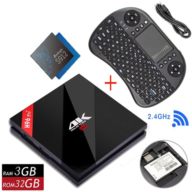 1 année iptv D'origine H96 PRO Plus + Android 7.1 TV Box 3G 32G Amlogic S912 64bit WIFI Bluetooth 4.1 LAN 4 K et 2 K Smart Media lecteur