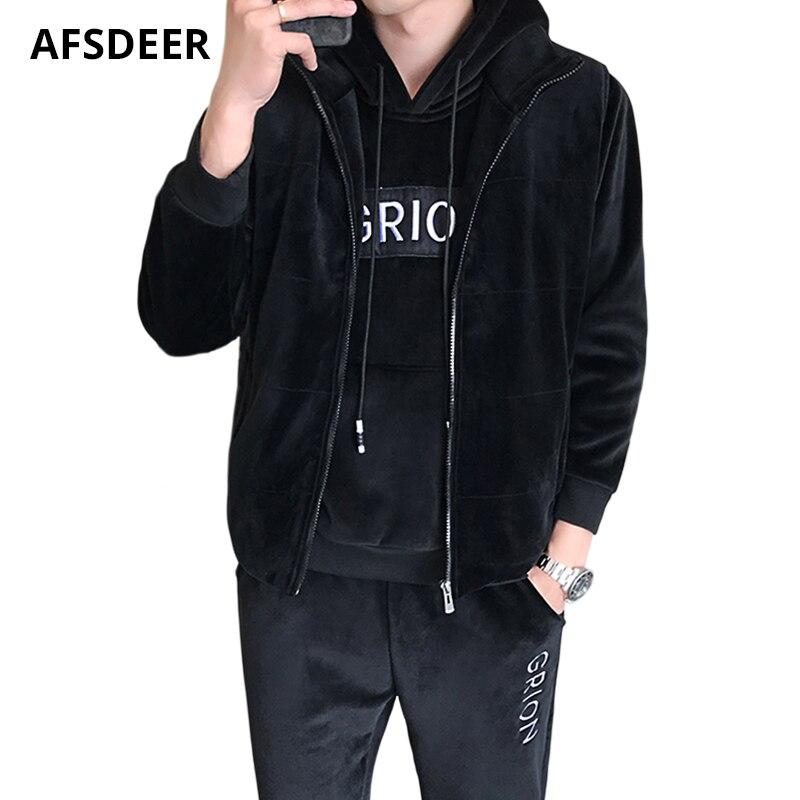 Model Tracksuit Males Set Garments 2018 Winter Informal Fleece Hoodies & Sweatshirts Sweatpants 2Pcs Pullover Sports activities Fits Sweatsuit