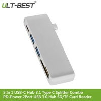ULT BEST 5 In 1 Multifunction USB C Hub 3.1 Type C Splitter Combo Power Delivery PD Power 2Port USB 3.0 Hab SD/TF Card Reader