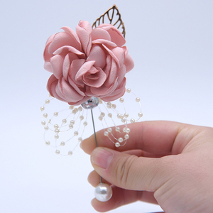 Crystal Corsage Wrist Flower Satin Rose Boutonniere Brooches for Bride Bridesmaid Sister Group Wedding Supplies Bouquet Dance(China)