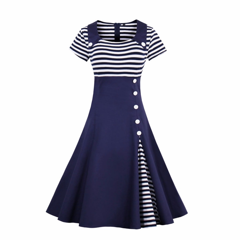Plus Size S-4XL Women Robe Pin Up Dress Striped Square Collar Summer Dresses Vintage 50s Rockabilly Party Feminino Vestidos