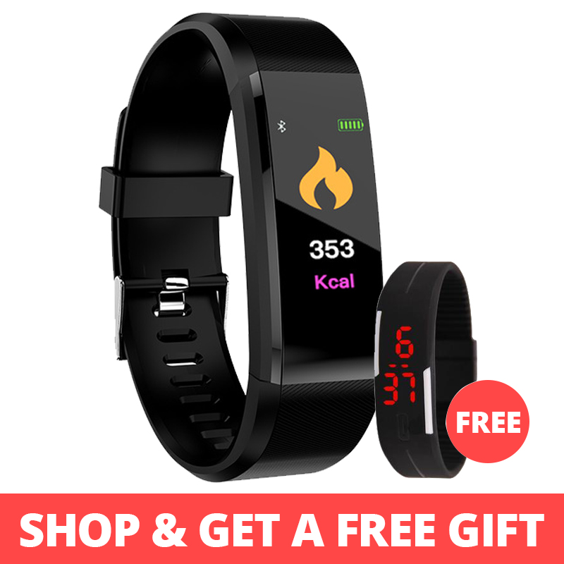 Bluetooth inteligente reloj de las mujeres de los hombres Monitor de ritmo cardíaco sangre presión pulsera reloj inteligente reloj deportivo para ios android + caja