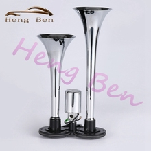 HB Chrome Siren Horn Two Pipes Dual Way Trumpet Electric Air Horn Car Bus Truck Boat Train Loud Car Horn 150DB 12V 24V