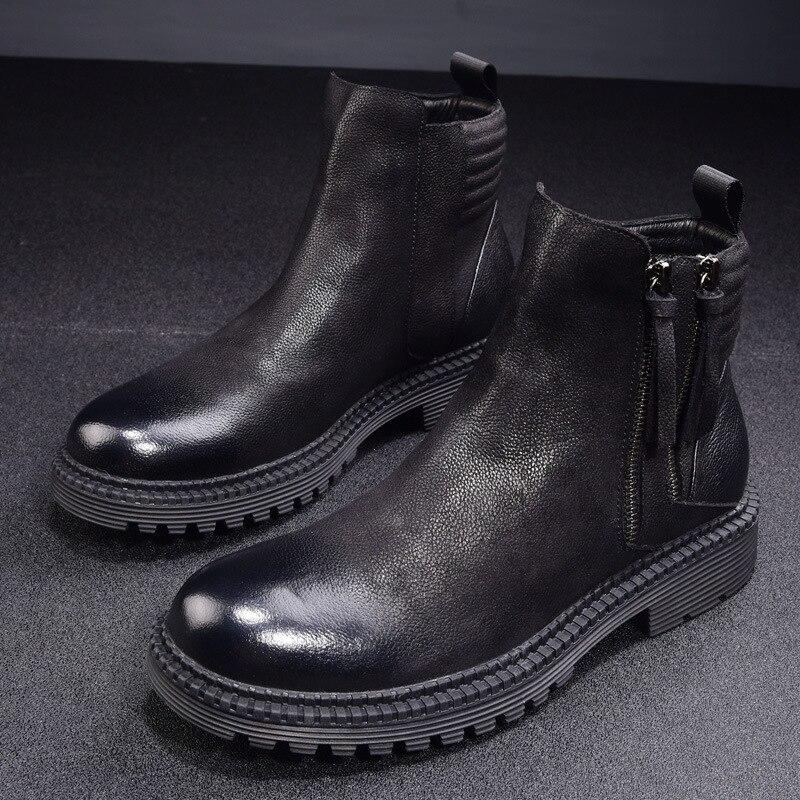 Zapatos De Vaca Chelsea Top Alta Para Genuino Otoño Botas Retro Brown Piel Del Invierno Ocio fósforo Todo Nuevo Hombre negro Británicos Cuero wSHCzFqH