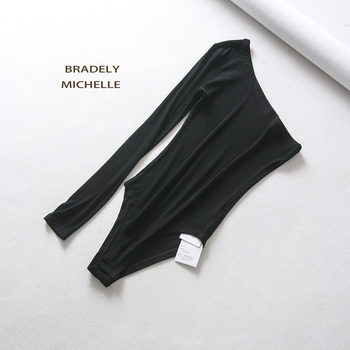 BRADELY MICHELLE new fashion women sexy strapless single sleeve bodysuit autumn ladies under tops cotton jumpsuit rompers 6