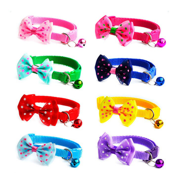 Fashion Cute Kitten 1pc New Adjustable Bowknot Nylon Dog Cat Pet Collar Bow Tie Bell Puppy Candy Color Necktie image