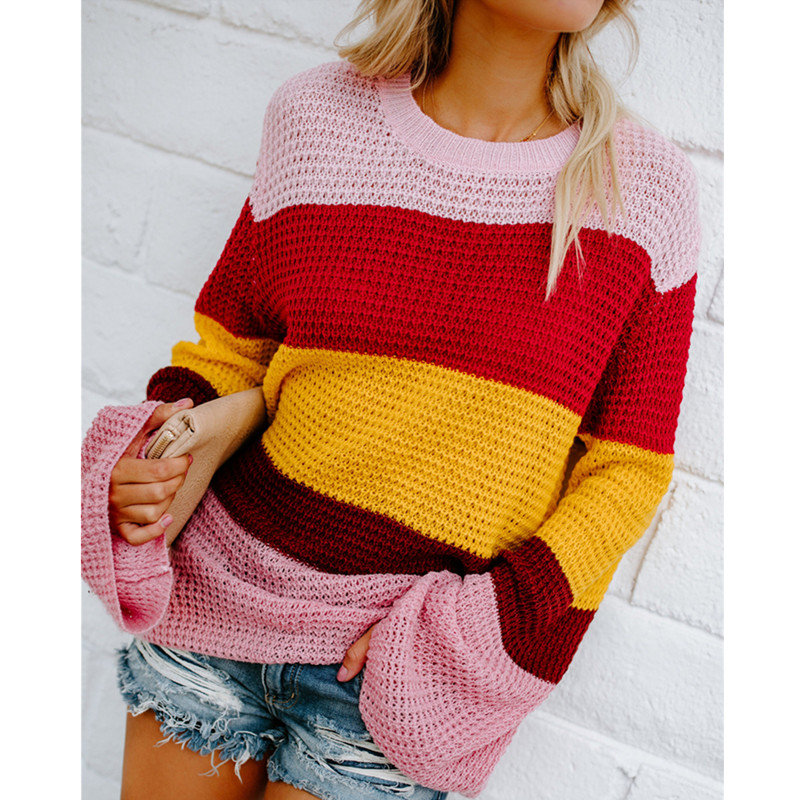 Sinfeel Rainbow O-Neck Sweaters Women Winter 2019 Jumpers Knitted Clothes Fashion Striped Loose Oversized Pullover Female