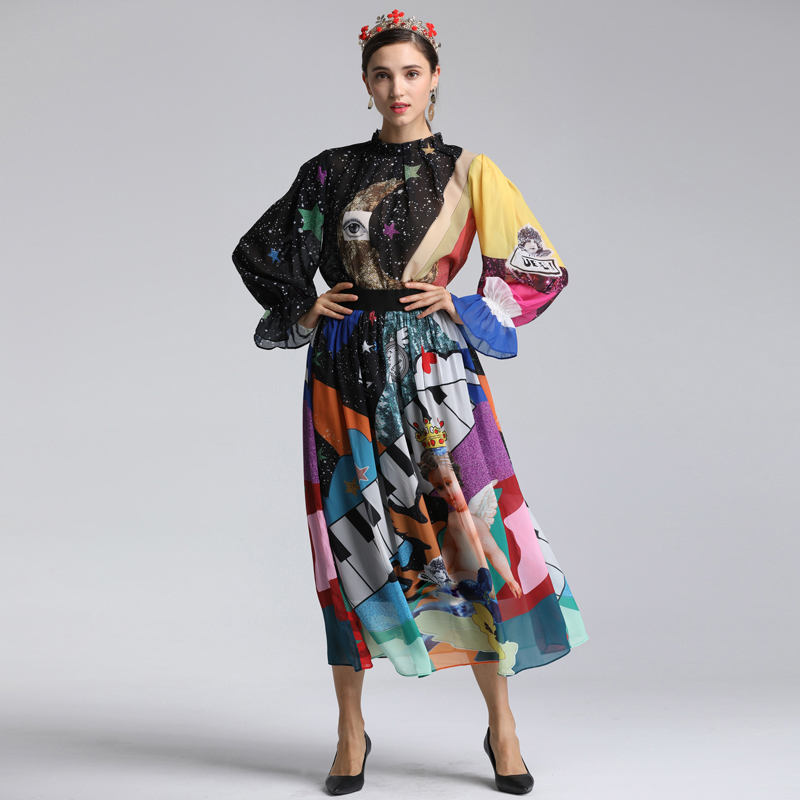 Red RoosaRosee 2019 Spring Summer Women Sets New Flare Sleeve Loose Blouse Large Swing Bohemian Skirt