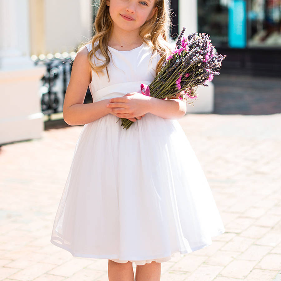 A-Line Flower Girls Dresses For Wedding Gown White Mother Daughter Dresses Tulle First Communion Dresses for Girls a line flower girls dresses for wedding gown white mother daughter dresses tulle first communion dresses for girls