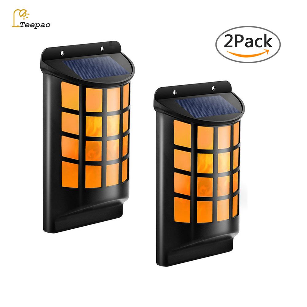 Creative 2pcs/set Outdoor LED Solar wall Light Path Flame Light IP 65 Waterproof LED Flickering Outdoor Fence Garden Wall Lights