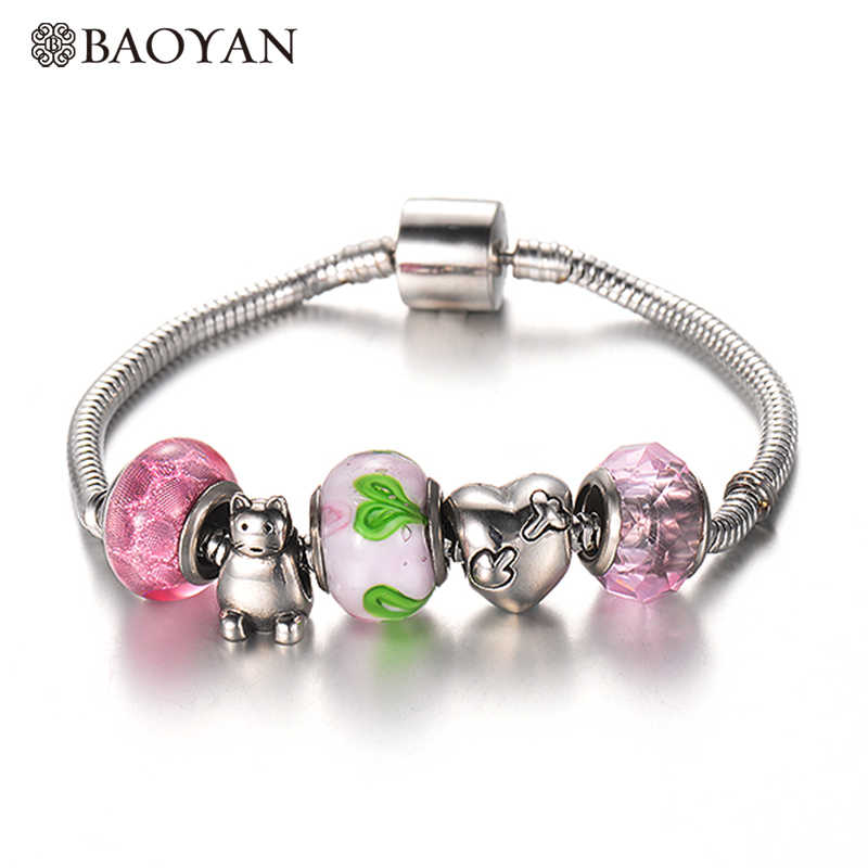 BAOYAN Stainless Steel DIY Charm Bracelet & Bangle with Pink Heart Flower European Murano Charm Beads for Women Drop Shipping