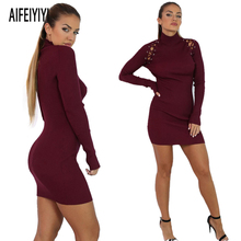 2018 New Spring Women Sexy Patchwork Knitted Bandage Sweater Dress Ladies High Elastic Irregular Club Wear Bodycon Dresses