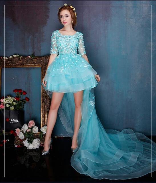 Wedding Dress China Free shipping Mini Skirt With Long Train Organza ...