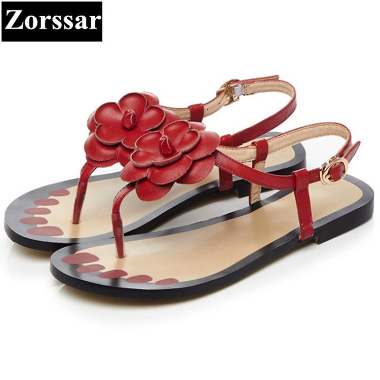 PLUS SIZE 33-43 NEW 2017 Summer Women flat Sandals Fashion Flower Sandalias mujer Casual Flats Shoes Womens Flip-flops summer high quality women flats sandals plus size 34 43 new fashion casual ladies sandalias comfort mujer gladiator woman shoes