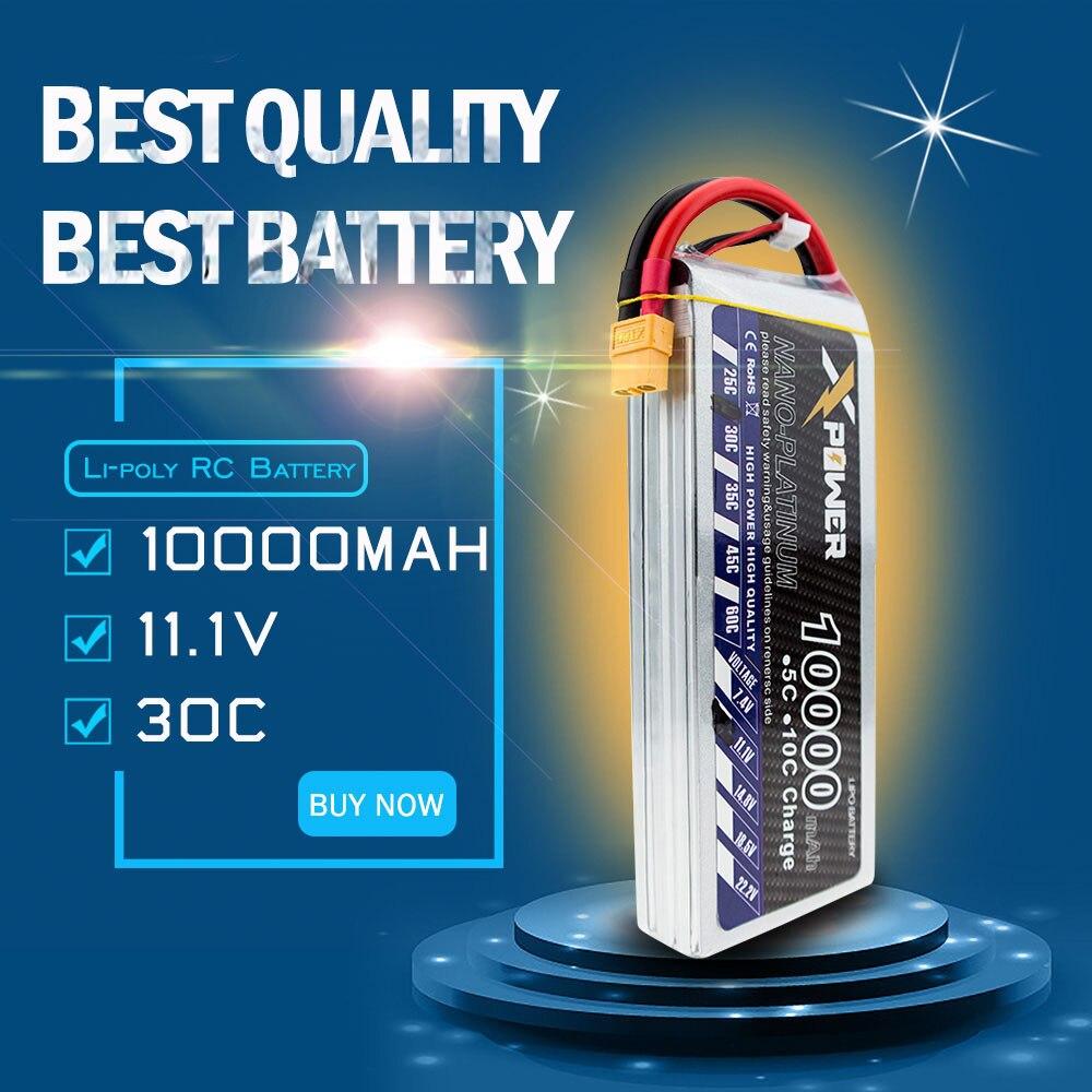 Xpower 11.1 V 10000 mAh 3 s lipo batterie 30C batteries XT60/T/EC5/XT90 pour hélicoptère RC quadrirotor drone partie VS VOK