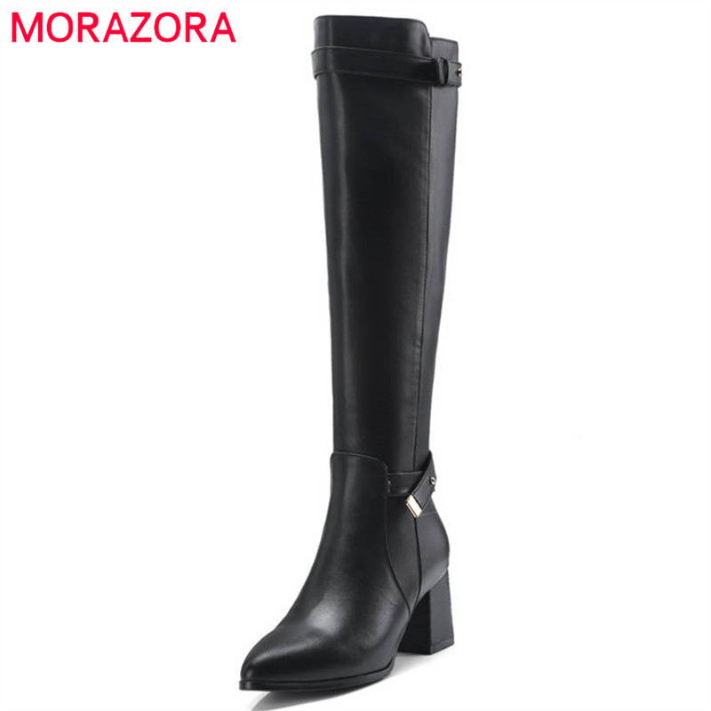 цена на MORAZORA 2018 new arrival knee high boots women pointed toe genuine leather boots zipper simple high heels boots dress shoes