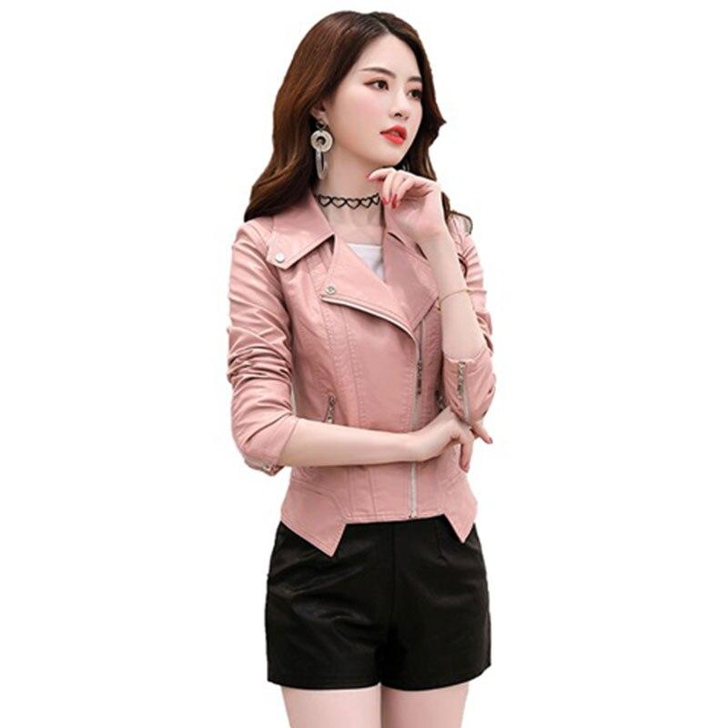 Femme Automne Pink Mode Manteau 2019 Pour Noir En Cuir Slim Veste