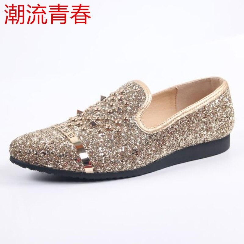 3fdce2765 Casual Com Rebites 5 Redonda Deslizamento 44 1 4 Luxo Loafer Toe Elegante  Prata Shoes Comfort ...